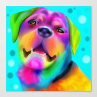 rottweiler Canvas Prints featuring Funky Rottweiler by Sally Rowland Art