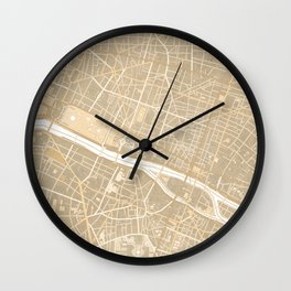 Vintage map of Paris France in sepia Wall Clock