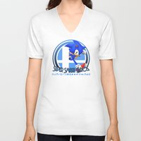 super smash bros V-neck T-shirts featuring Sonic - Super Smash Bros. by Donkey Inferno