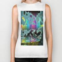 sail Biker Tanks featuring Rainbow Sail by BeachStudio