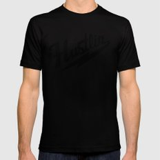 Hustlin - White Background with Black Image Black MEDIUM Mens Fitted Tee
