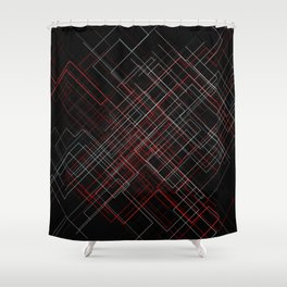 Wyre diagonal - BlackRed Shower Curtain