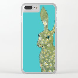 Esmeralda Hare with daisies Clear iPhone Case