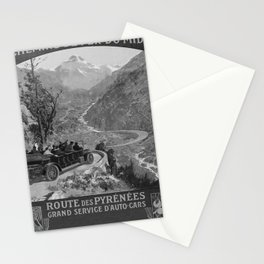 retro noir MIDI Route des Pyrenees poster Stationery Cards