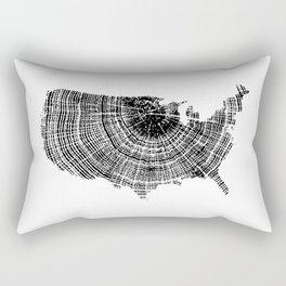 United States Print, Tree ring print, Tree rings, US map, Wood grain Rectangular Pillow