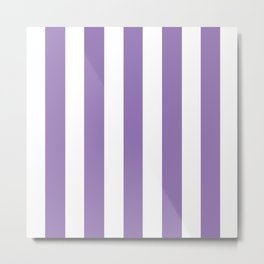 Purple mountain majesty - solid color - white vertical lines pattern Metal Print