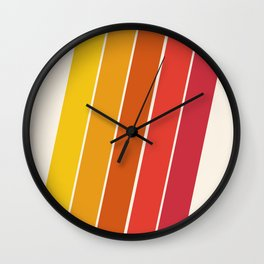 Cool Beans - 70's retro throwback art stripes motif decor hipster Wall Clock