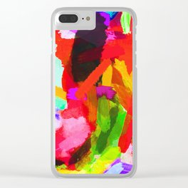 red orange blue green purple painting texture abstract background Clear iPhone Case