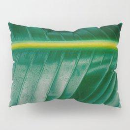 Close Up Of A Banana Leaf Tropical Green Leaf Moisture Droplets Wet Leaf Pillow Sham