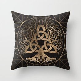 Tree of life -Yggdrasil with Triquetra Throw Pillow