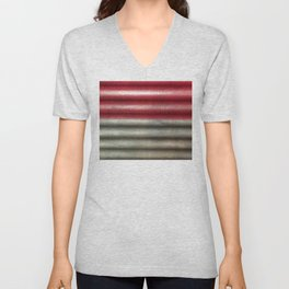 Industrial Wall | Red Grey Striped Wall | Contemporary Art Unisex V-Neck