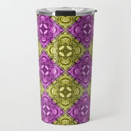 Pink & Gold Spiral Diamonds Travel Mug