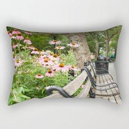 City Bench Flowers Rectangular Pillow