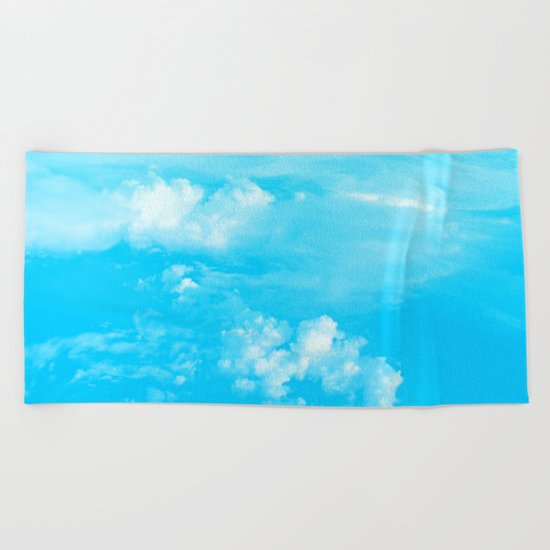 Aerial Turquoise Clouds Beach Towel