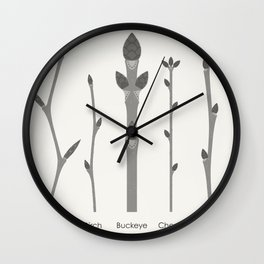Infographic Guide for Tree Shoots and Buds Wall Clock
