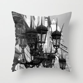 Old South Church Lamps in Black and White by David Hohmann Throw Pillow