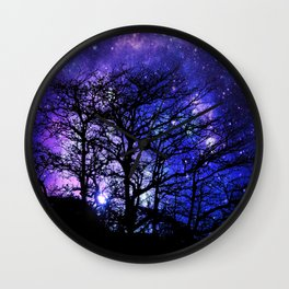 Black Trees Blue Violet Purple Space Wall Clock
