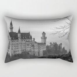 Black and White Neuschwanstein Castle Rectangular Pillow