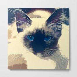 holy birma cat blue eyes vector art foggy night Metal Print
