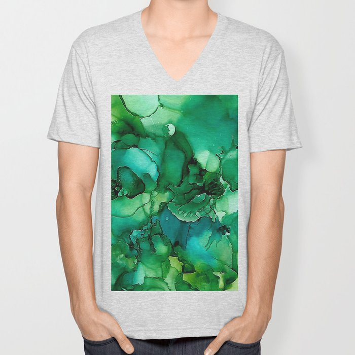 Into the Depths of Sea Green Mysteries Unisex V-Neck