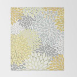 Floral Prints, Soft, Yellow and Gray, Modern Print Art Throw Blanket