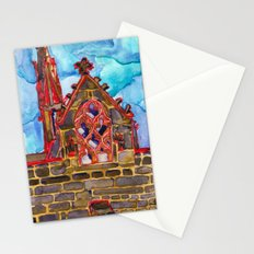 lit up in red Stationery Cards