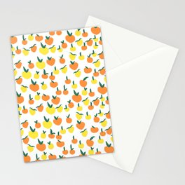 Handdrawn Lemons and Oranges Pattern Stationery Cards