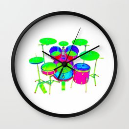 Colorful Drum Kit Wall Clock