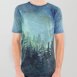 Galaxy Watercolor Aurora Borealis Painting All Over Graphic Tee