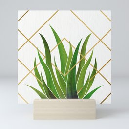 Emerald Succulent with Metallic Gold Diamonds Mini Art Print
