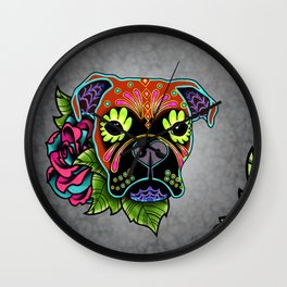 Boxer in Fawn - Day of the Dead Sugar Skull Dog Wall Clock