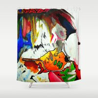 olivia joy Shower Curtains featuring Joy by Aaron Carberry