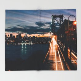 One second in life of Williamsburg Bridge Throw Blanket
