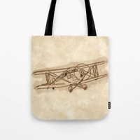 airplane Tote Bags featuring Airplane by LaDa