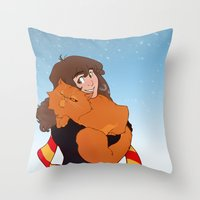 hermione Throw Pillows featuring Hermione and Crookshanks by AnimonInk