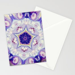 Fluid Nature - Purple Blue Mandala Star Stationery Cards
