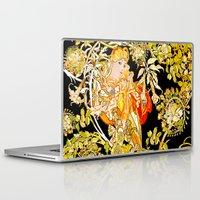 mucha Laptop & iPad Skins featuring Marguerite's Bower, Mucha by Vintage Era Art