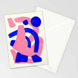 Blue Pink Fun Colorful Mid Century Modern Abstract Painting Shapes Pattern Stationery Cards