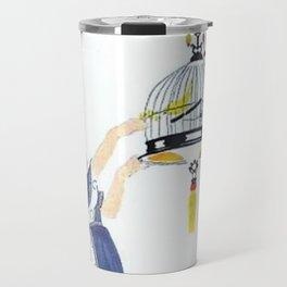 Vintage Canary Birdcage Travel Mug