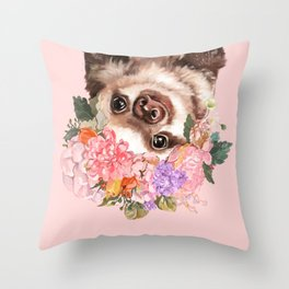 Baby Sloth with Flowers Crown in Pink Throw Pillow