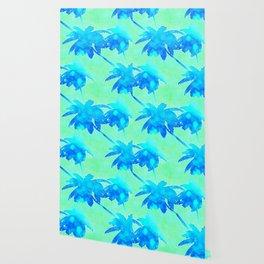 Coconut Palm Trees Tropical Beach Blue Green Wallpaper