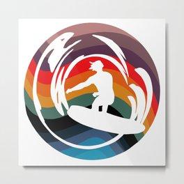 Rainbow Surfer Metal Print