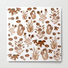 Brown Flowers Metal Print