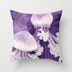Purple Jellyfish Throw Pillow
