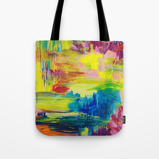 GOING THROUGH THE MOTIONS -  Stunning Saturated Bold Colors Modern Nature Abstract Tote Bag
