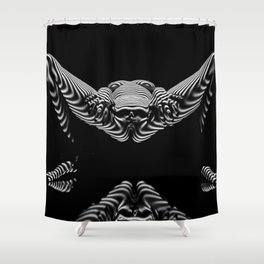 8767-KMA BW Erotic Spread Abstract Nude Sexy Striped Intimate View Reflected Shower Curtain