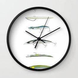 Realistic fishing lures Wall Clock
