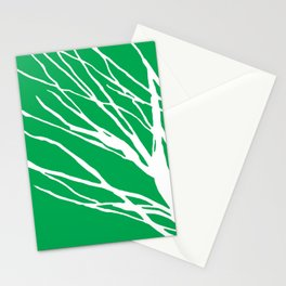 Tree Silhouette Green Stationery Cards