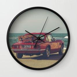Triumph Spitfire by the sea, fine art photo, british car, sports car, classic car, supercar Wall Clock