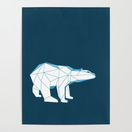 Blue geo polar bear looking for love.. Poster